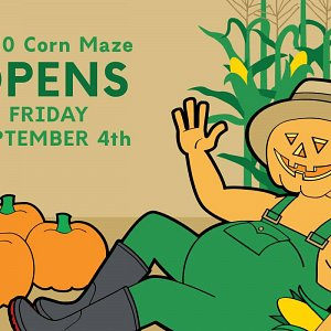 Opening date banner for the 2020 McNab's Corn Maze
