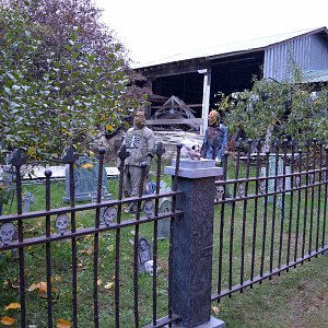 A haunted graveyard outside of the barn at McNab's Corn Maze