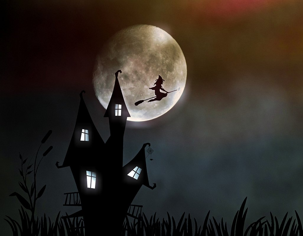 A witch flies past a full moon on a broomstick